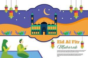 Flat eid al fitr background illustration Design vector