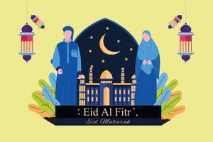 Flat eid al fitr banner design illustration vector