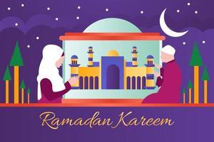 ramadan kareem banner background design vector