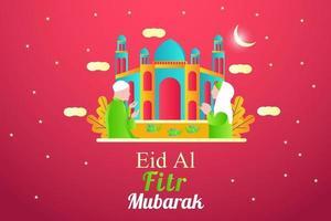 Flat eid al fitr illustration banner design vector
