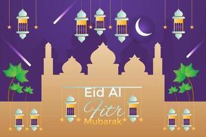 Flat eid al fitr illustration vector