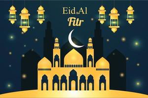 Flat eid al fitr illustration design vector