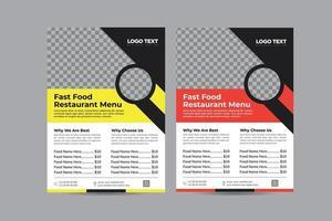 diseños de menú de restaurante de comida rápida vector