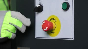 Industrial machinery buttons, emergency shutoff video
