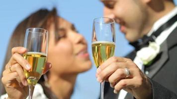 sposa e sposo al matrimonio brindando con champagne video