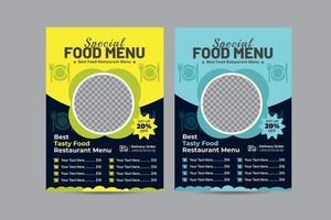 diseño moderno del menú del restaurante de comida rápida vector