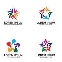 Star people logo design community human vector logo