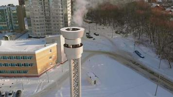 stainless steel pipe for flue gases from the boiler room aerial filming video