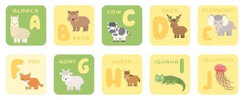 lindo vector aj zoo alfabeto tarjetas educativas aisladas con animales de dibujos animados oso de alpaca vaca ciervo elefante zorro cabra caballo iguana medusa