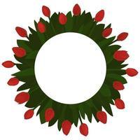 Veintiún tulipanes rojos dispuestos en una plantilla de flor de círculo o maqueta para un texto de tarjeta navideña aislado sobre fondo blanco. vector
