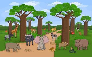 African Madagascar baobab avenue with animal from all over the world vector
