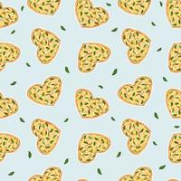 Patrón de repetición perfecta de pizza en forma de corazón amarillo con queso y albahaca fondo azul vector