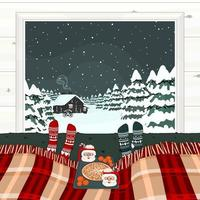 Cozy Christmas Winter Scene with Bed in front of winter winter vector