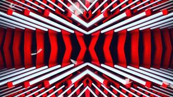 linee al neon incandescente rosse e bianche astratte con animazione video ciclo senza cuciture sfondo movimento farfalla bianca