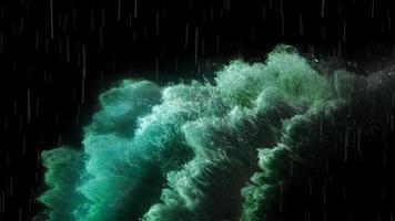 Dark Blue Ocean Big Water Waves 4K  Loop Ocean Storm High Wave And Rain Background video