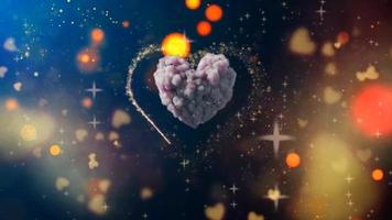 Beautiful Heart Love background 3d Seamless footage 4K Romantic colorful Glitter glowing and flying hearts Animated background for Romance love marriage valentines day and birthday Invitation video