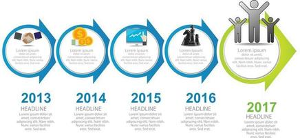 Step to success diagram and arrow timeline vector infographic chart