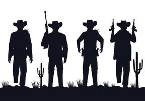 cowboys figures silhouettes with guns characters in the desert vector