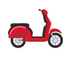 icono de vehículo de motocicleta scooter rojo vector