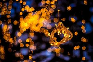Bokeh Tree Light Decoration Welcoming House and the fabulous party and Christmas night Outdoor Trees have been decorated with yellow lights photo