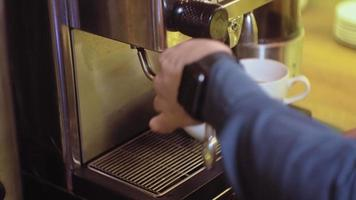 coffee cappuccino from coffee machine in cafe video