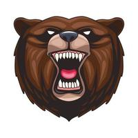 grizzly bear animal wild head colorful character vector