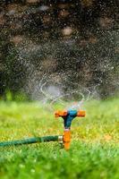 Garden sprinkler watering grass photo