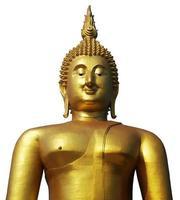 Estatua de Buda en el templo púbico de Tailandia aislado sobre fondo blanco con trazado de recorte foto