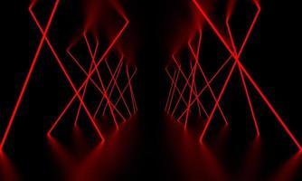 Red laser light glow in the dark room 3D Illustration photo