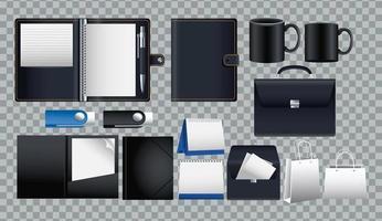 Paquete de iconos de conjunto de maquetas en fondo cuadriculado vector