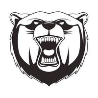grizzly bear animal wild head character icon vector