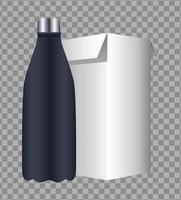 bottle and box products packings branding icon vector