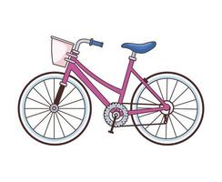 bicicleta retro con icono de cesta vector