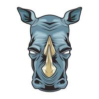 rhino animal wild head colorful character icon vector