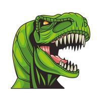 tyrannosaurus rex animal wild head colorful character vector