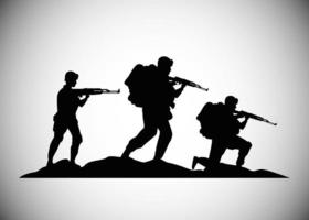 military soldiers with guns silhouettes figures icons vector