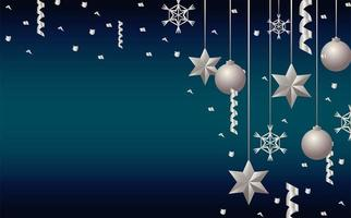 happy merry christmas silver stars and balls hanging vector