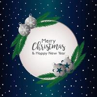 merry christmas and happy new year lettering card with silver balls vector
