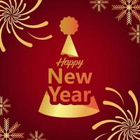 happy new year lettering golden card with party hat vector
