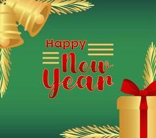 feliz año nuevo letras tarjeta dorada con campanas doradas y regalo vector
