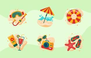 Flat Cute Summer Beach Icon Set vector