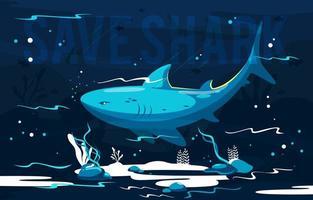 Blue Shark in the Deep Ocean vector