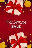 feliz navidad venta tarjeta de letras con regalos y bolas doradas vector