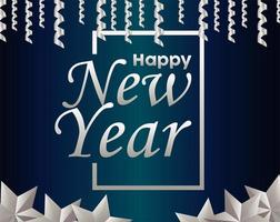 happy new year lettering card with silver garlands and balls hanging vector