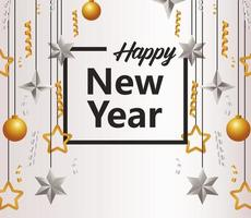 happy new year lettering card with balls and stars hanging vector