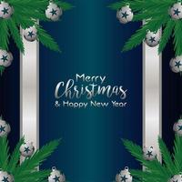 merry christmas and happy new year lettering card with balls and leafs in silver frame vector