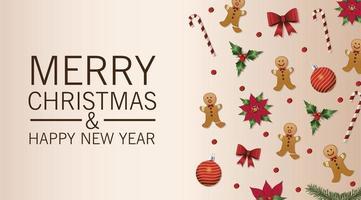feliz navidad tarjeta de letras con patrón de iconos vector