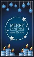 happy merry christmas lettering card with candles and balls hanging vector