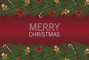 Feliz tarjeta de letras de feliz navidad con arcos y gingerman en marco de hojas vector