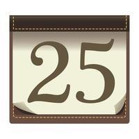 Feliz feliz navidad calendario con icono de número 25 vector